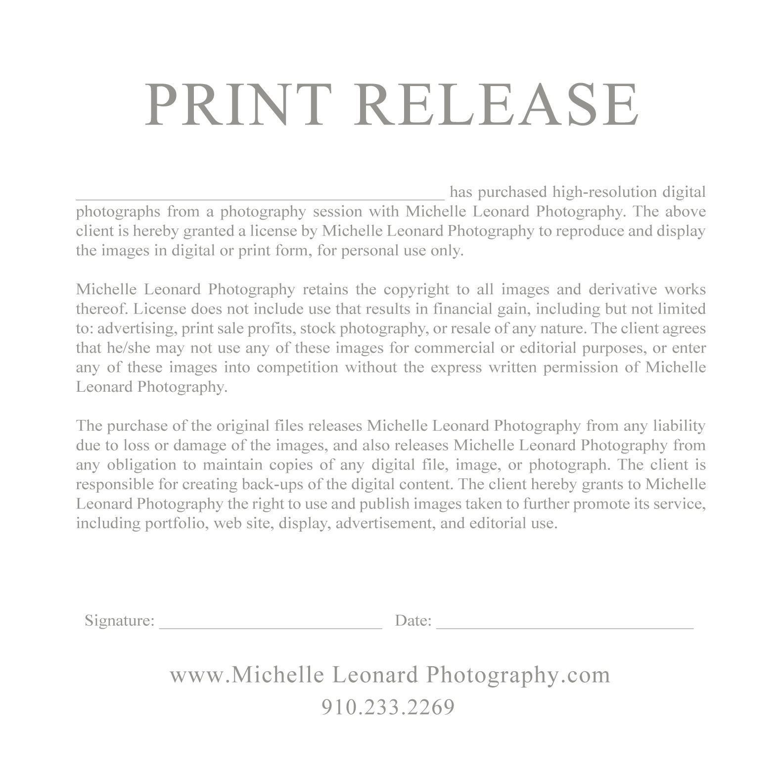 Pography print release for Photographer copyright release form template
